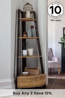 Oak Effect Bronx Corner Ladder Shelf