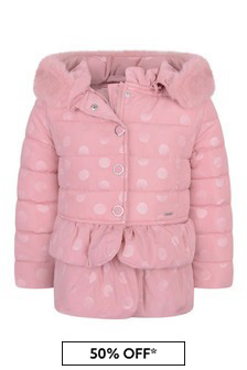 Girls Pink Polka Dot Padded Jacket