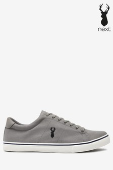 Grey Canvas Stag Trainers