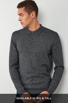 Charcoal   Long Sleeve Polo