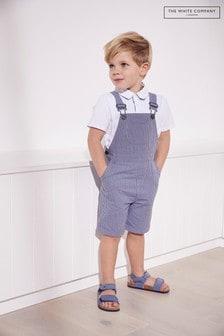 The White Company Blue Dungaree Shorts & Polo Top Set