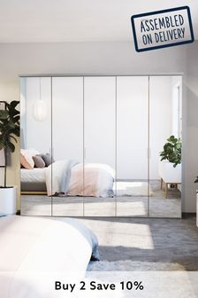 Mirror Peyton 2.5M Glass Hinged 5 Door Wardrobe