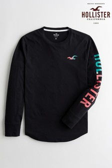 Hollister Long Sleeve Graphic Logo T-Shirt