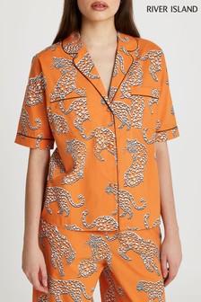 River Island Orange Leopard Printed Pyjama Shirt