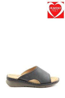 Heavenly Feet Ginger Ladies Black Sandals