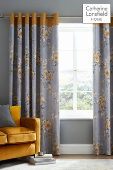 Catherine Lansfield Canterbury Floral Lined Eyelet Curtains