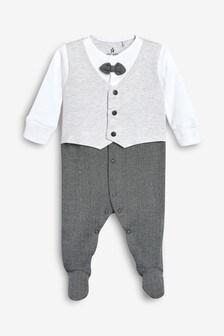 Grey Smart Bow Tie Sleepsuit (0-2yrs)