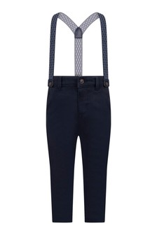 Baby Boys Navy Cotton Chino Trousers With Braces