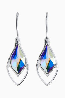 Silver Tone Tear Drop Earrings With Swarovski® Crystals