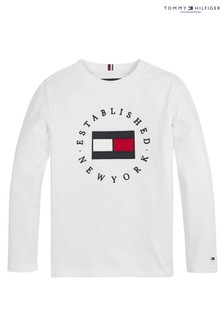 Tommy Hilfiger White Heritage Logo Long Sleeve T-Shirt