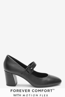 Black Forever Comfort® with Motion Flex Leather Mary Jane Shoes