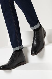 Black Leather Chukka Boots