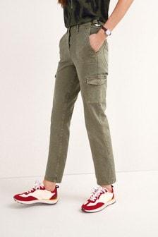 Khaki Straight D- Ring Trousers
