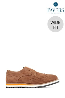 Pavers Tan Men's Wide Fit Leather Suede Derby Brogues