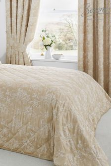 Jasmine Floral Jacquard Quilted Bedspread by Serene