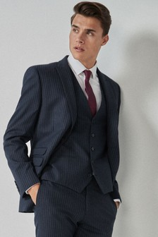 Blue Slim Fit Stripe Suit: Jacket