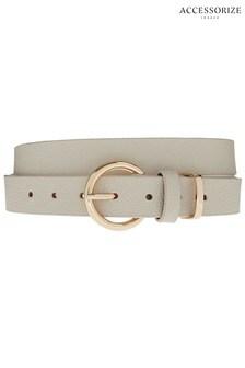 Accessorize Cream Round Buckle Leather Belt