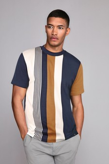 Navy/Tan Vertical Stripe T-Shirt