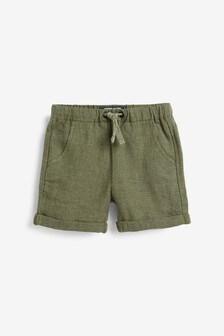 Khaki Linen Blend Pull-On Shorts (3mths-7yrs)