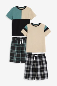 Teal/ Grey 2 Pack Check Short Pyjamas (1.5-16yrs)