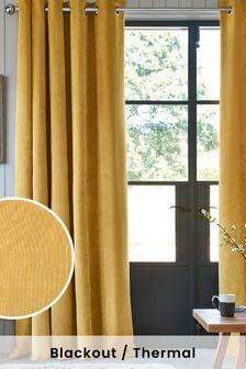 Honey Yellow Soft Velour Eyelet Lined Curtains