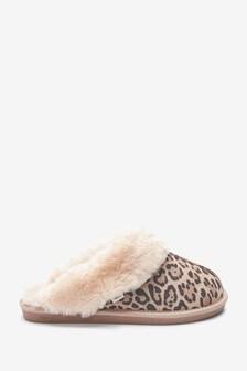 Animal Tan Suede Mule Slippers