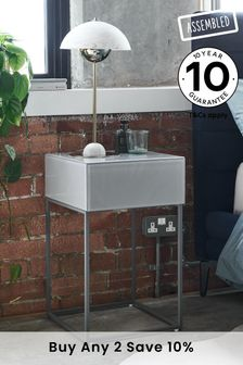 Grey Sloane 1 Drawer Bedside Table