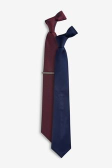 Navy/Burgundy Regular Textured Ties Two Pack With Tie Clip