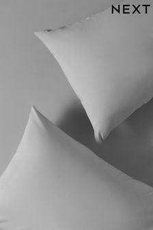 Set of 2 Grey Easy Care Polycotton Pillowcases