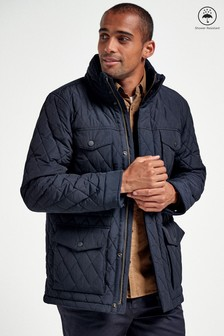 Navy Shower Resistant Diamond Quilted Four Pocket Jacket