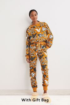 Ochre Yellow Floral Cosy Pyjamas In Gift Bag