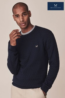 Crew Clothing Company Blue Travelling Cable Crew Jumper