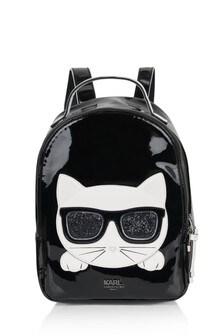 Girls Black Choupette Backpack