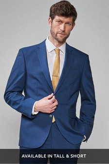 Bright Blue Regular Fit Wool Blend Stretch Suit: Jacket
