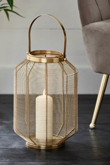 Large Gold Wire Lantern