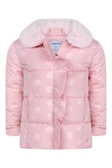 Baby Girls Pink Polka Dot Padded Jacket