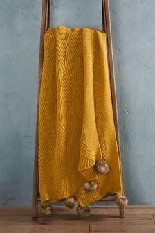 Knitted Pom Pom Throw