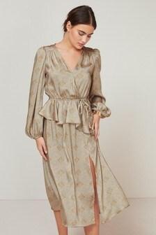 Grey V-Neck Midi Satin Dress