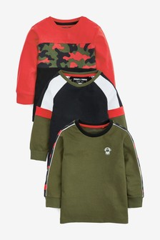 Black/Green 3 Pack Camo Colourblock T-Shirts (3mths-7yrs)