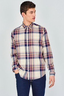 Natural Regular Fit Brushed Flannel Check Long Sleeve Shirt