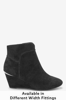 Black Extra Wide Fit Forever Comfort® Wedge Ankle Boots
