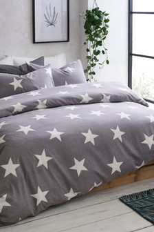 Grey  Brushed Cotton Stars Duvet Cover and Pillowcase Set