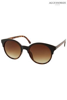 Accessorize Brown Penny Two Part Preppy Sunglasses