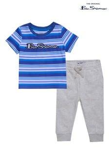 Ben Sherman® Blue Stripe T-Shirt And Joggers Set