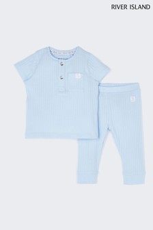 River Island Blue Light Rib Set