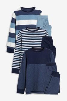 Blue Stripe Pyjamas Three Pack (3-16yrs)