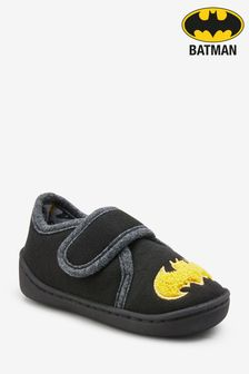 Black Batman® Strap Touch Fasten Cupsole Slippers (Younger)