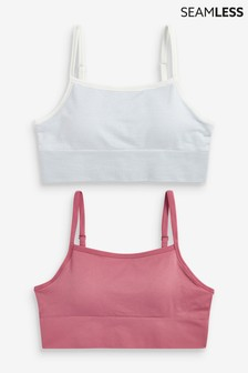 Pink/Stripe Daisy Seamfree Crop Tops Two Pack