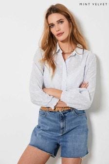 Mint Velvet Blue Dobby Puff Sleeve Shirt