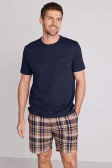 Navy/Tan Check Woven Pyjama Set
